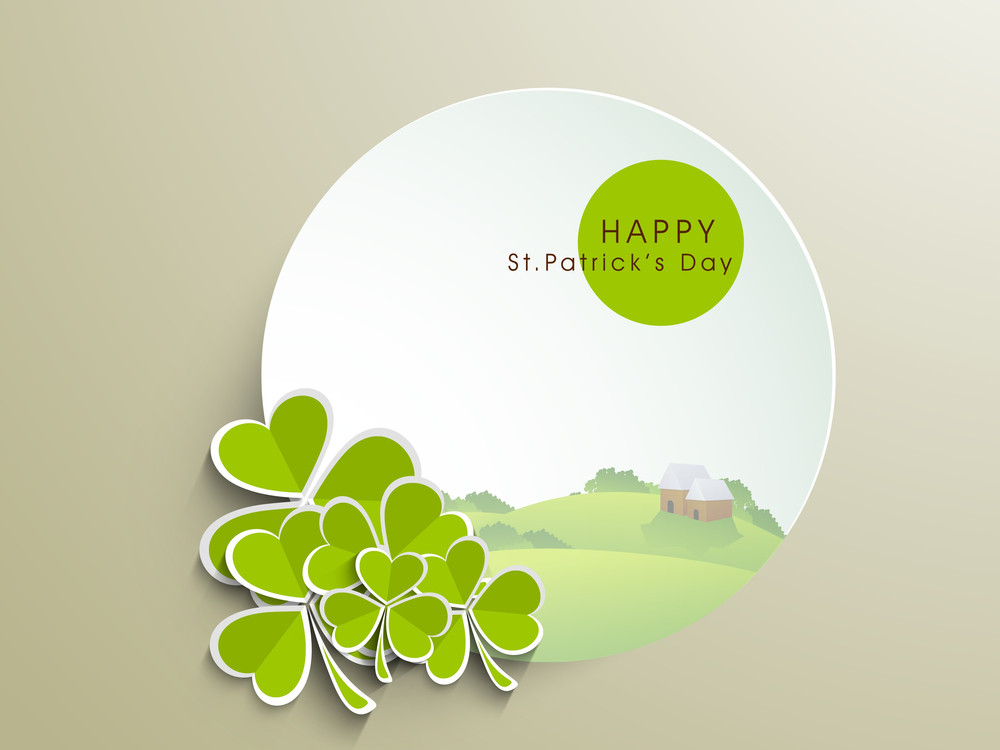 Happy St. Patrick's  Day Concept With Clover Leaves Can Be Use As Sticker