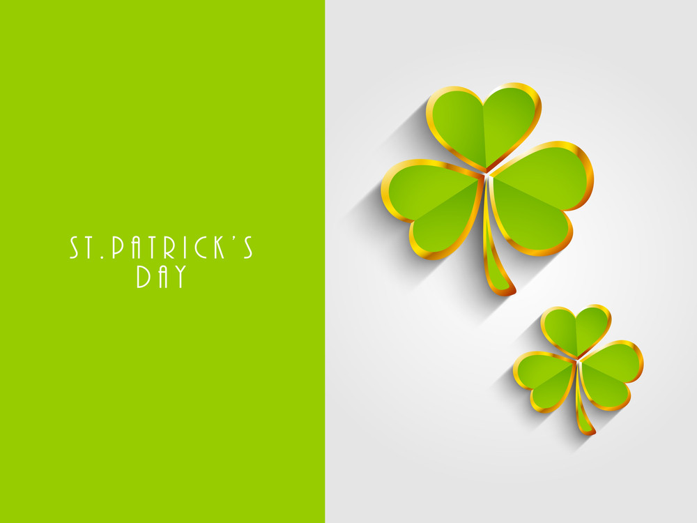 Happy St. Patricks Day Concept With Clover Leaves In Green And Golden Color With Space For Your Message.
