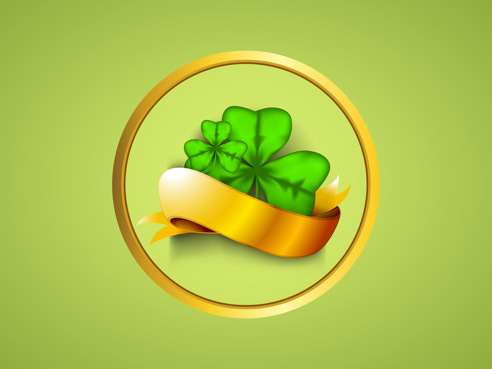 Happy St. Patrick's Day Concept With Clover Leaves With Golden Ribbon