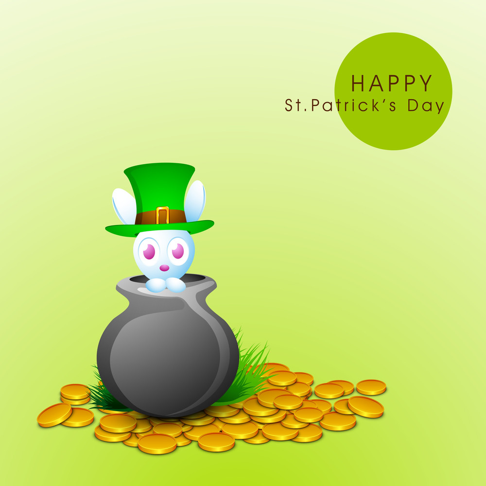 Happy St. Patrick's Day Concept With Cute Little Bunny In Leprechauns Hat Sitting In A Traditional Mud Pot