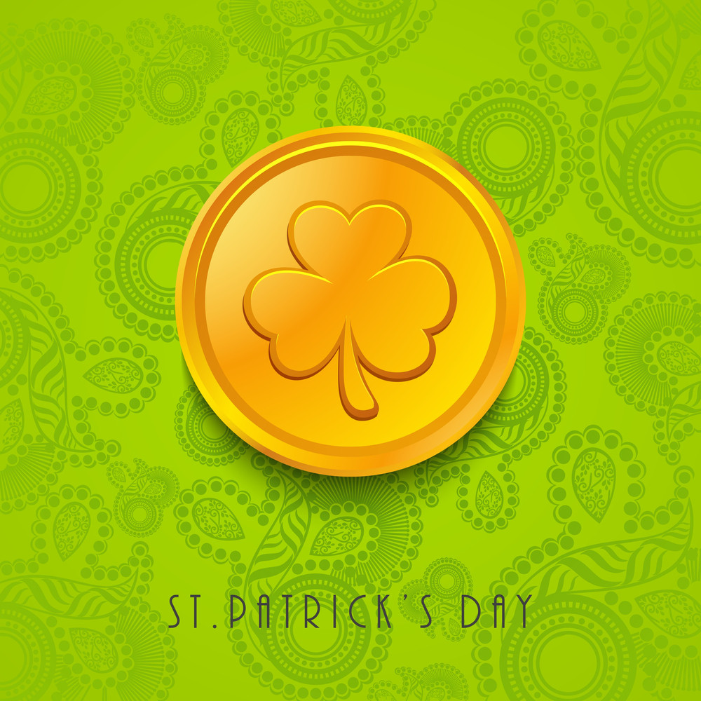 Happy St. Patrick's Day Concept With Gold Coin On Floral Decorated Green Background.