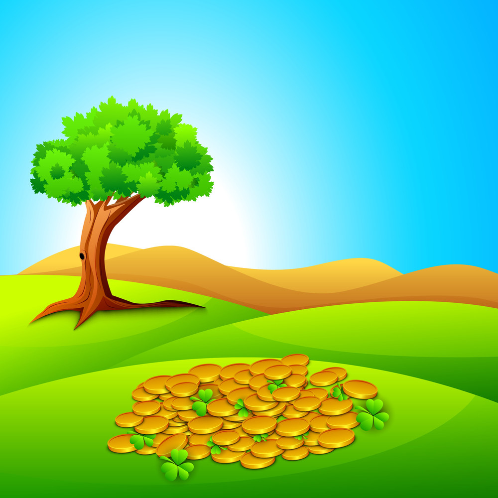 Happy St. Patrick's Day Concept With Gold Coins And Clover On Nature Background.