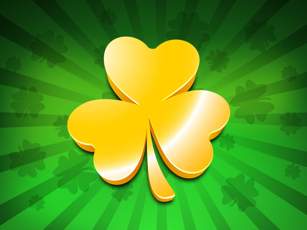Happy St. Patrick's  Day Concept With Golden Clover On Green Rays Background.