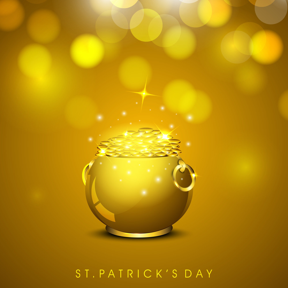 Happy St. Patrick's Day Concept With Golden Pot Full Of Coins On Shiny Brown Background.