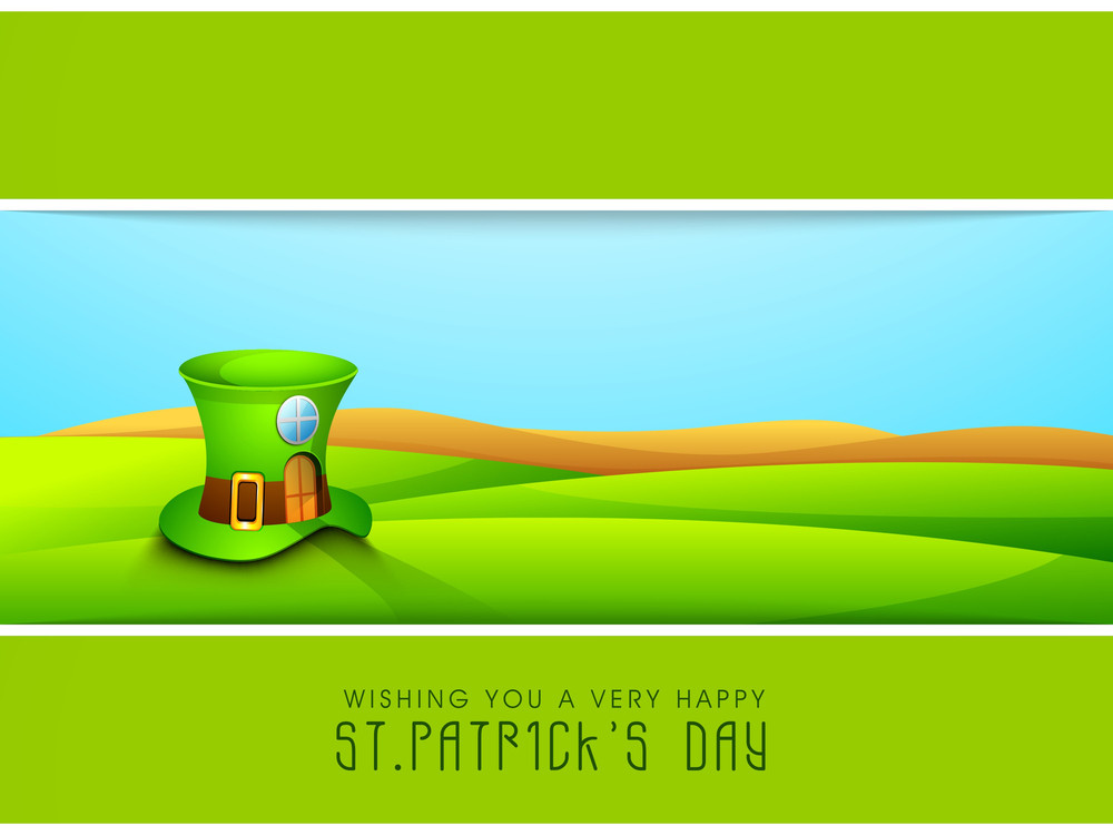 Happy St. Patricks Day Concept With Leaprechaun's Hat On Nature Background.
