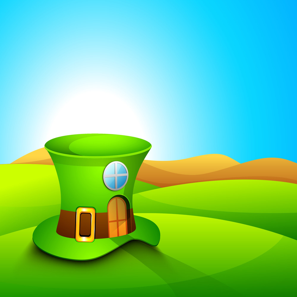 Happy St. Patricks Day Concept With Leprechaun Hat On Nature Background.