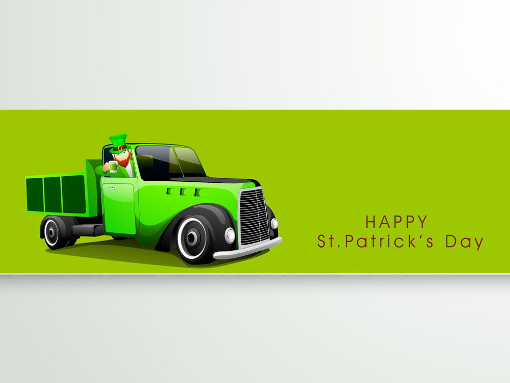 Happy St. Patrick's Day Concept With Leprechaun Holding Beer Mug In His Truck On Green And Grey Background.