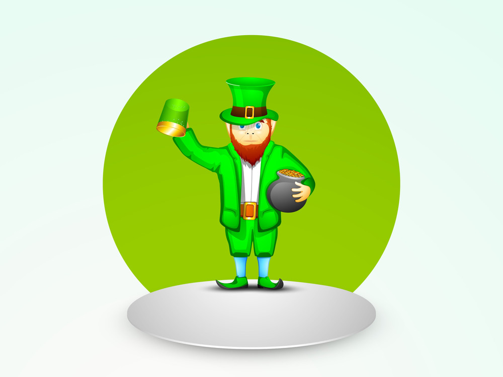Happy St. Patricks Day Concept With Leprechaun Holding Traditional Mud Pot With Full Of Gold Coins And Beer Mug.