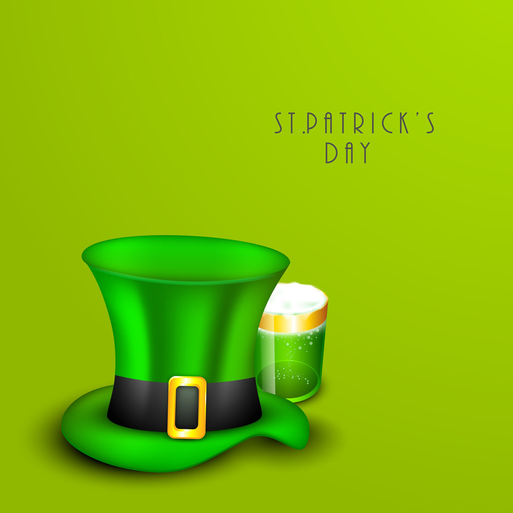 Happy St. Patricks Day Concept With Leprechaun's Hat And Beer Mug On Shiny Green Background.