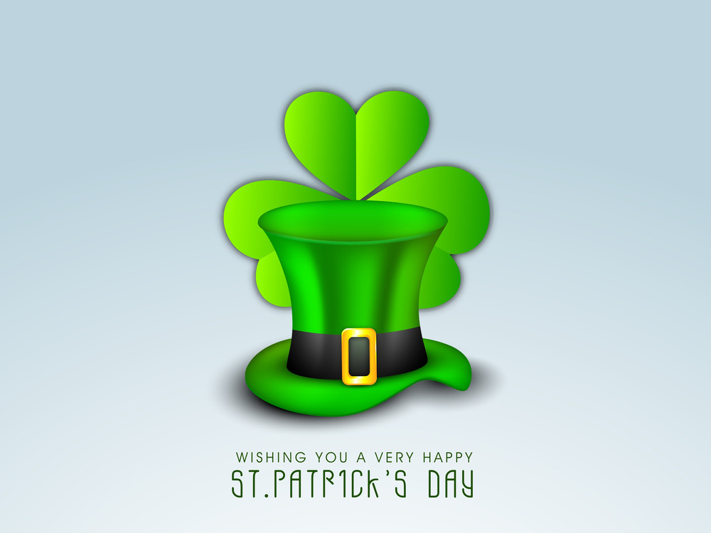 Happy St. Patrick's Day Concept With Leprechaun's Hat And Clover Leaf On Blue Background.
