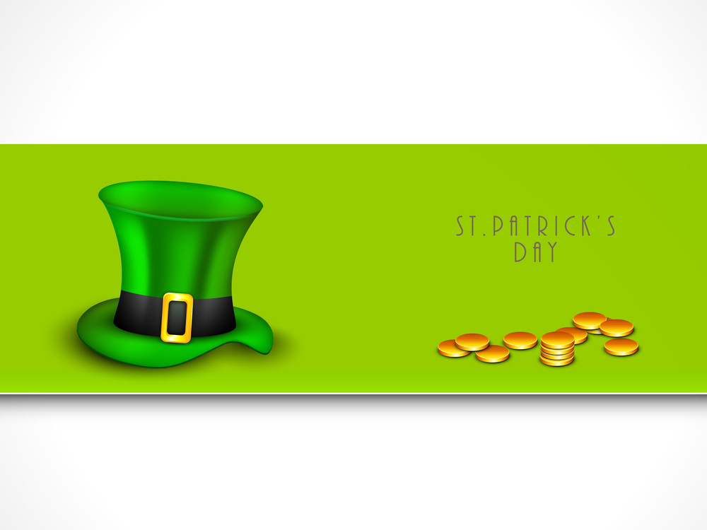 Happy St. Patricks Day Concept With Leprechaun's Hat And Gold Coins On Green And White Background.