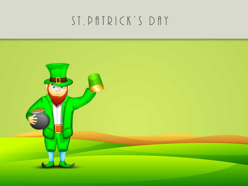Happy St. Patricks Day Concept With Leprechaun's Holding Tradition Mud Pot With Full Of Coins And Beer Mug On Nature Background.