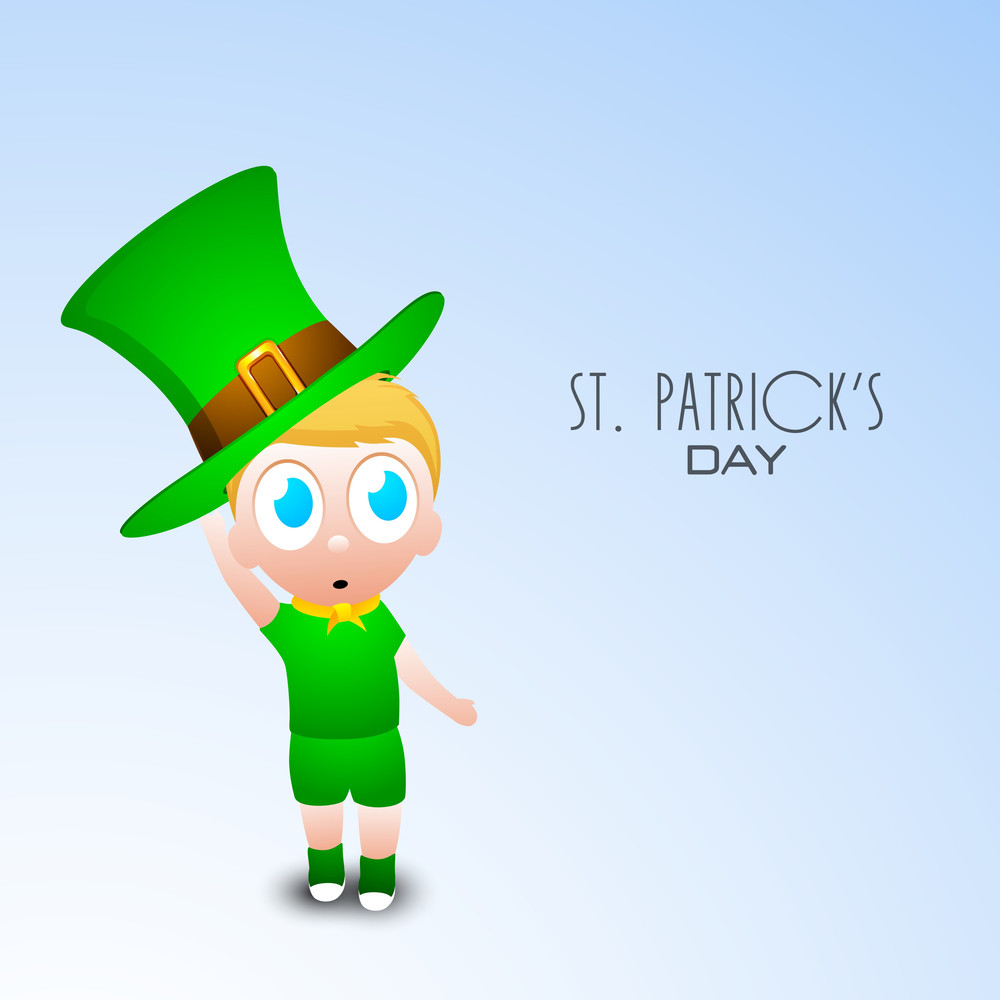 Happy St. Patricks Day Concept With Little Boy Wearing Leprechauns Hat On Blue Background.