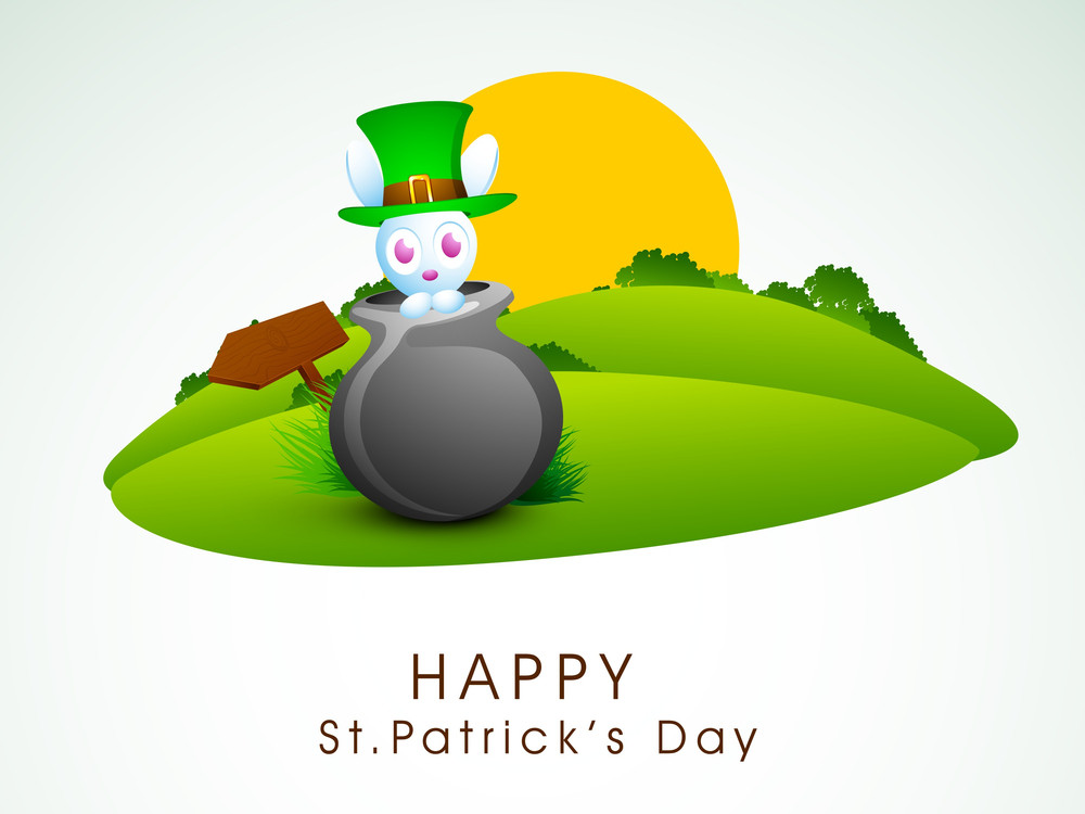 Happy St. Patrick's  Day Concept With Little Bunny In A Traditional Mud Pot With Leprechauns Hat On Nature Background