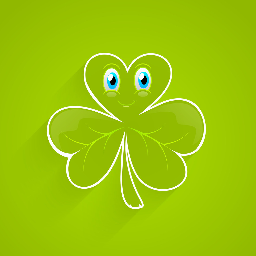 Happy St. Patrick's Day Concept With Little Clover Leaf On Shiny Green Background.