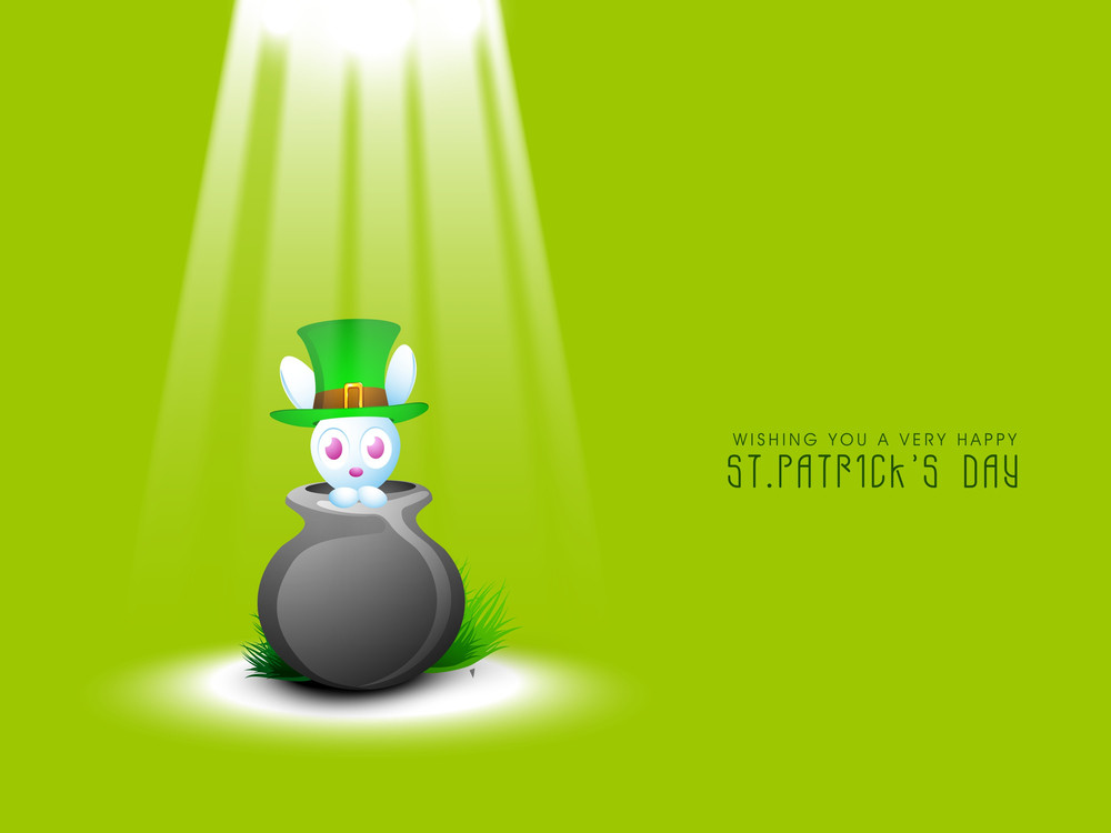 Happy St. Patricks Day Concept With Little Cute Bunny Sitting In Traditional Mud Pot With Leprechauns Hat On Shiny Green Background.