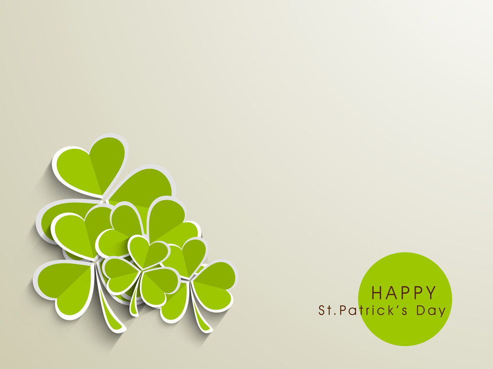 Happy St. Patrick's Day Concept With Paper Clover Leaves On Abstract Background.