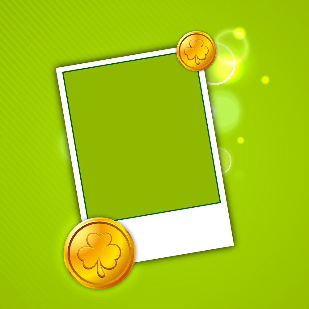 Happy St Patricks Day Concept With Photo Frame And Gold Coins On Green Background