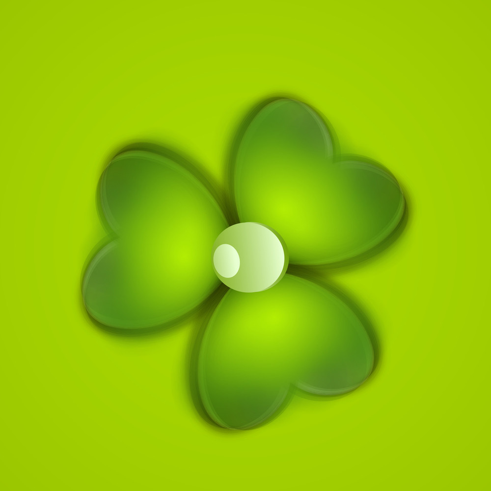 happy st patrick u0027s day concept with shiny clover leaf on green