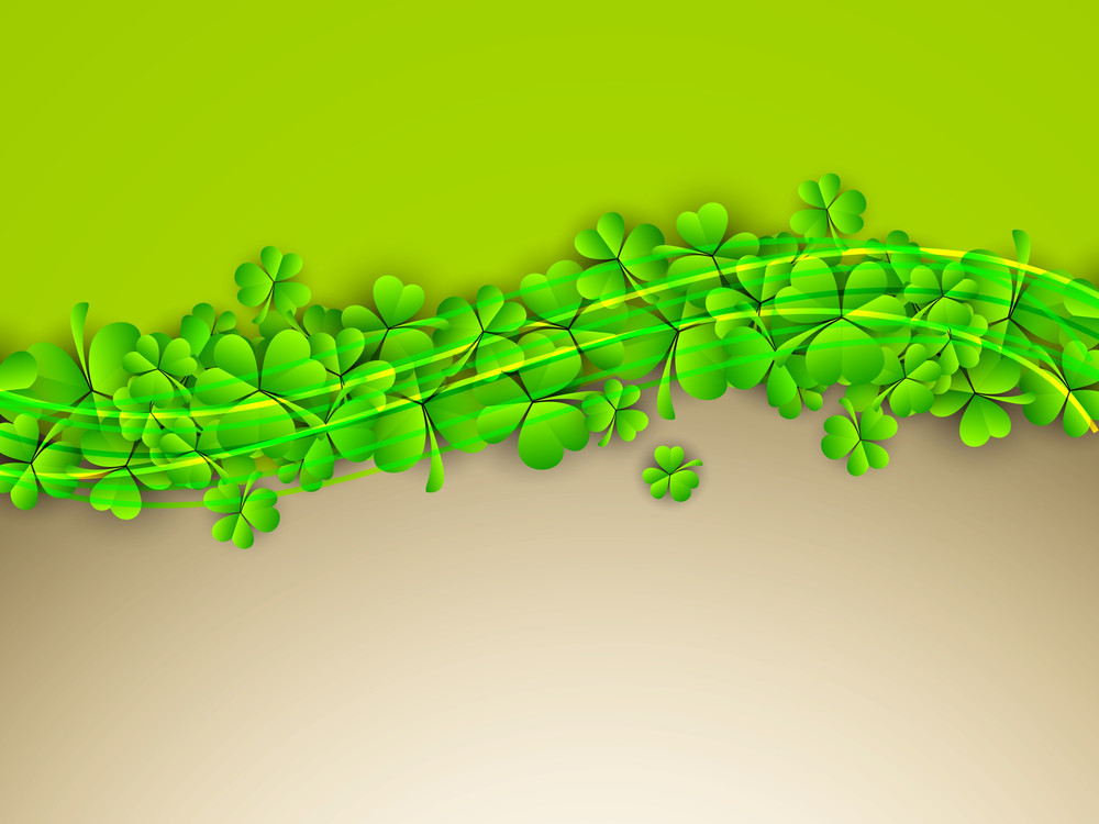 Happy St. Patricks Day Concept With Shiny Clover Leaves On Green And Brown Background.