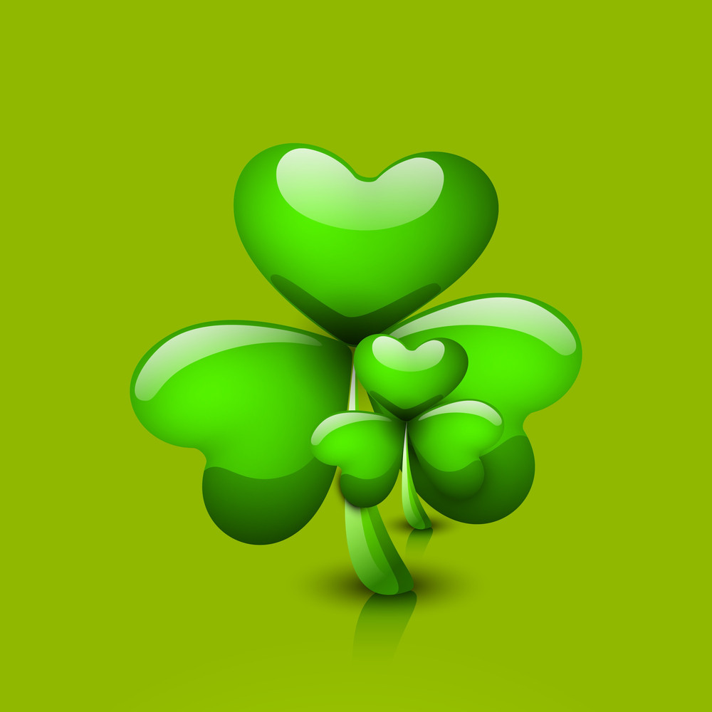Happy St. Patricks Day Concept With Shiny Clover On Green Background.