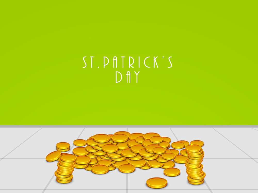 Happy St. Patrick's Day Concept With Stylish Text And Gold Coins On Green And Grey Abstract Background.