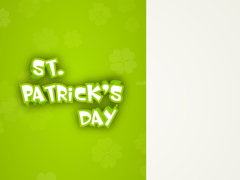 Happy St. Patrick's Day Concept With Stylish Text On Abstract Green And Grey Background.