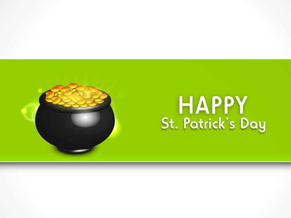 Happy St. Patricks Day Concept With Traditional Mud Pot With Full Of Coins On Green And Grey Background.