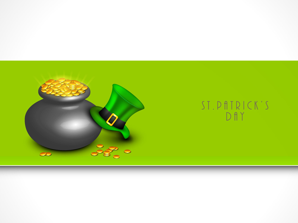 Happy St. Patrick's Day Concept With Traditional Mus Pot With Full Of Gold Coins