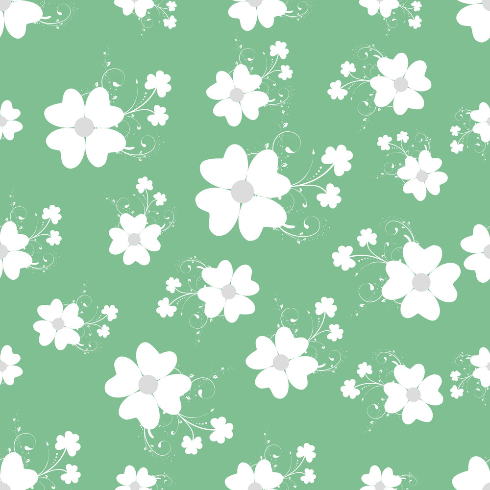 Happy St. Patricks Day Seamless Pattern With Beautiful Flowers On Green Background.