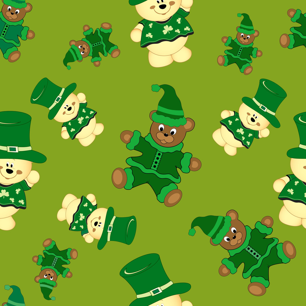 Happy St. Patrick's Day Seamless Pattern With Teddy Bears On Green Background.