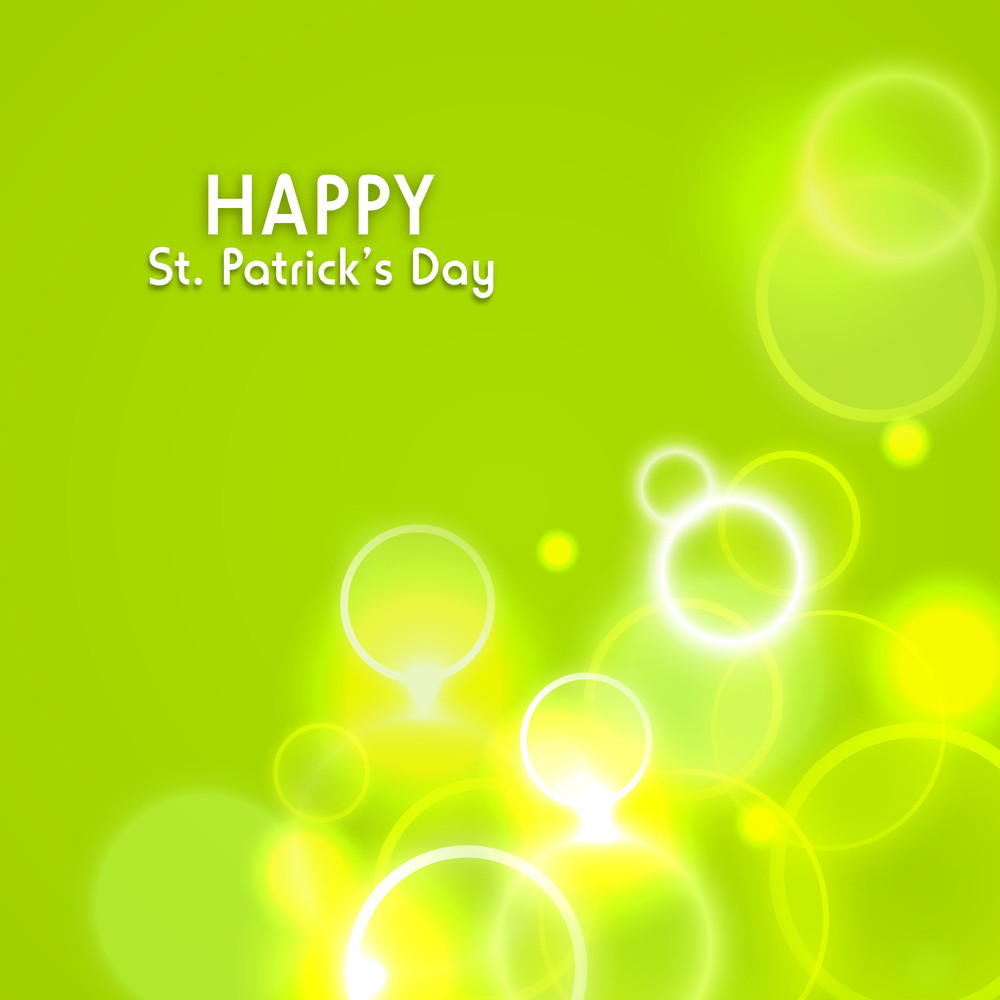 Happy St. Patrick's Day Shiny Yellow And Green Background.
