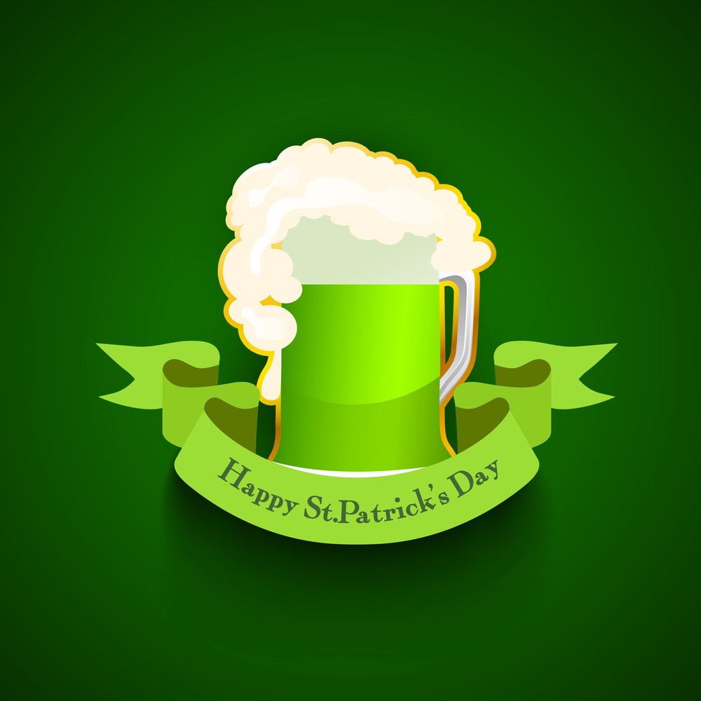 Happy St. Patricks Dayconcept With Beautiful Clover Leaves On Green Waves Background