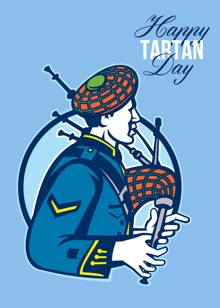 Happy Tartan Day Bagpiper Greeting Card