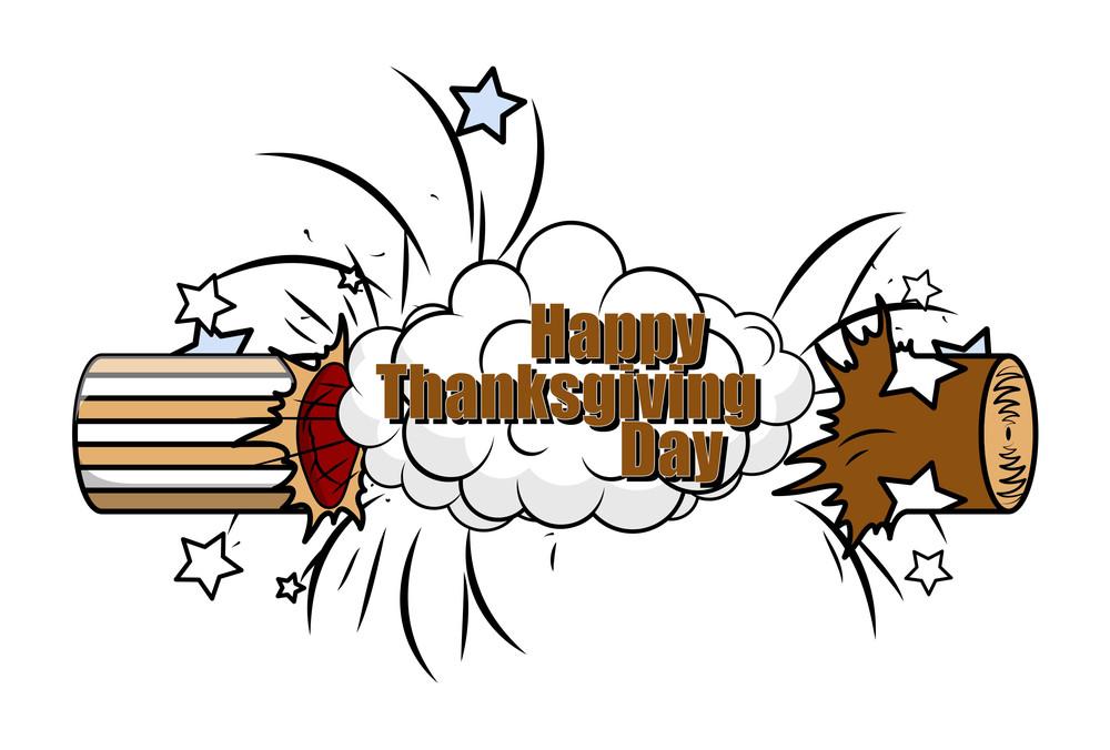 Happy Thanksgiving Day Bursting Bomb Banner