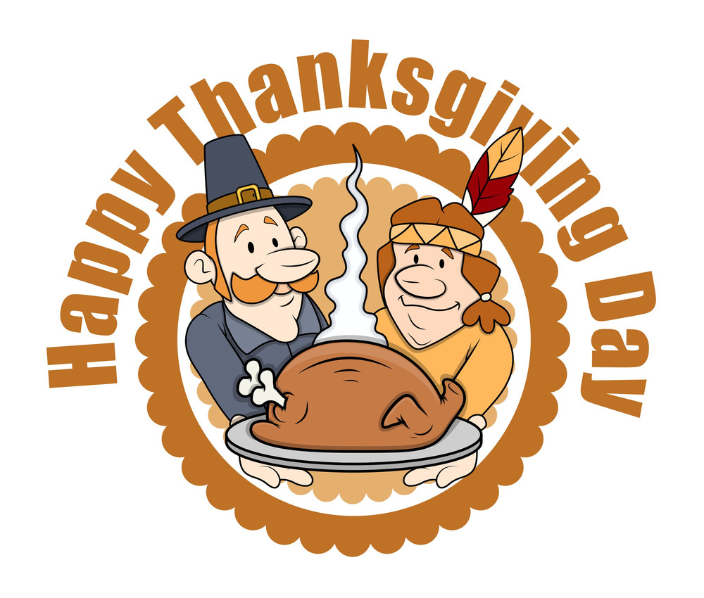 Happy Thanksgiving Day Cartoon People Graphics