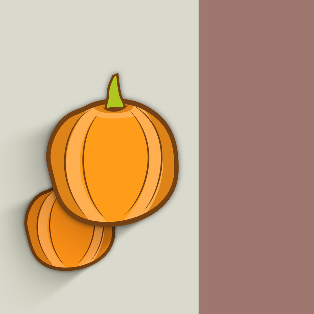 Happy Thanksgiving Day Celebration Background With Pumpkins On Grey And Brown Background.