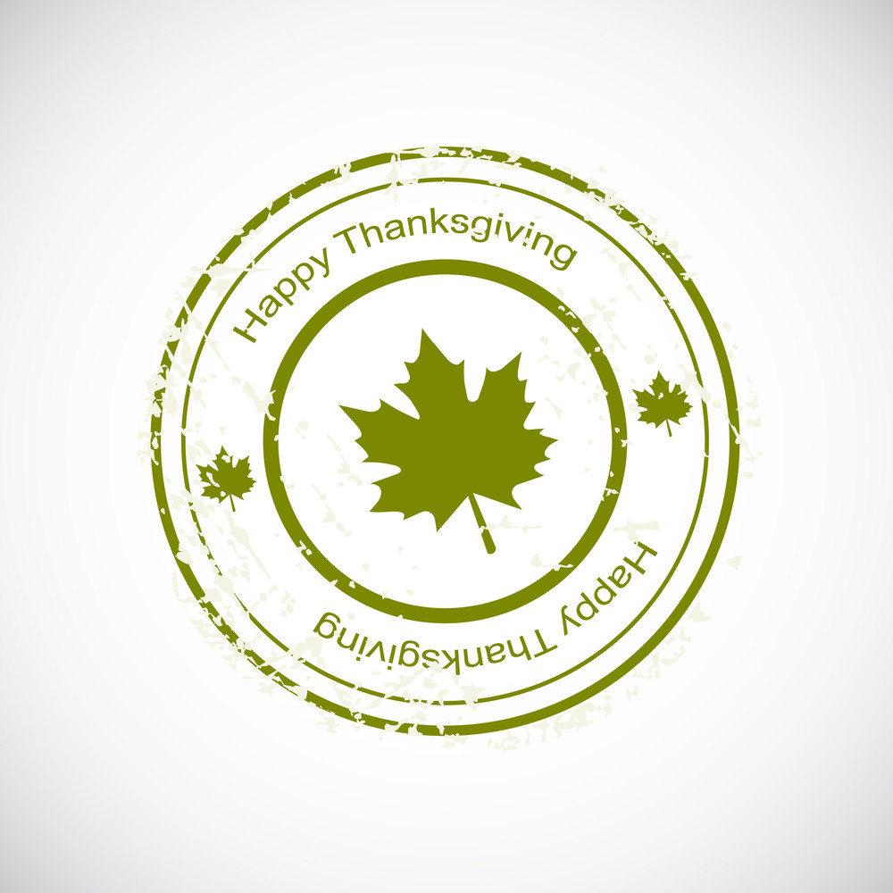 Happy Thanksgiving Day Celebration Stamp With Green Autumn Leave.
