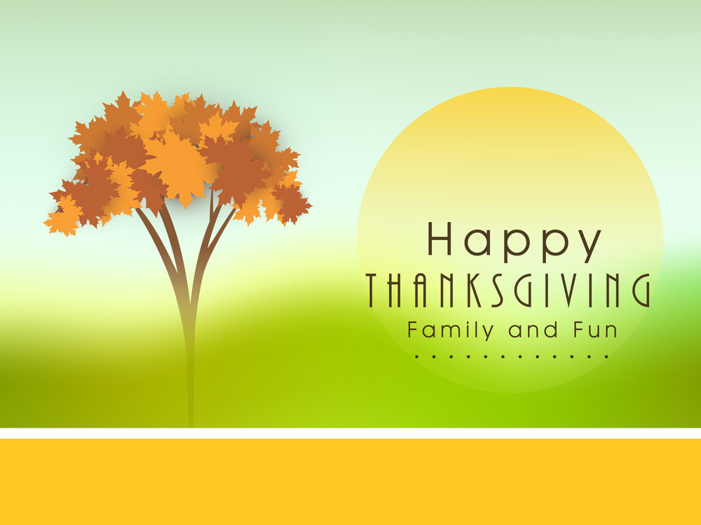 Happy Thanksgiving Day Concept With Autumn Leaves On Nature Background.