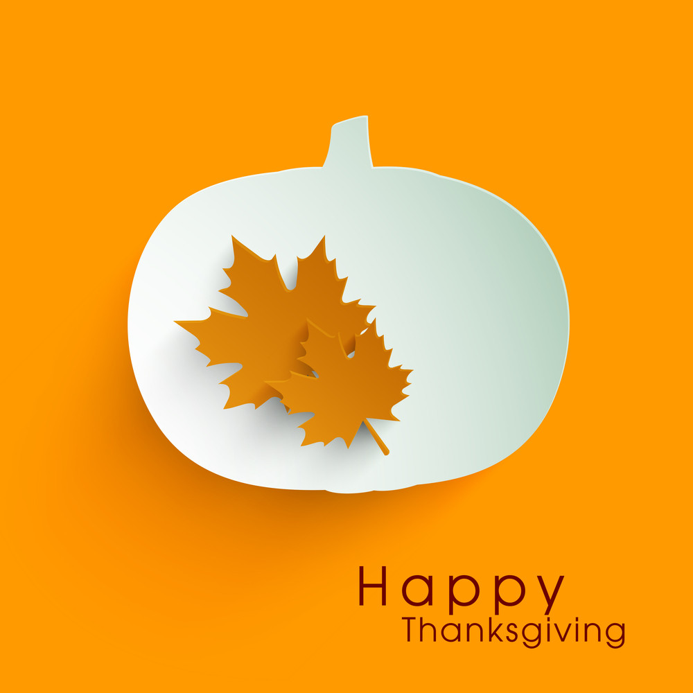 Happy Thanksgiving Day Concept With +beautiful Pumpkin And Autumn Leaves On Ornage Background