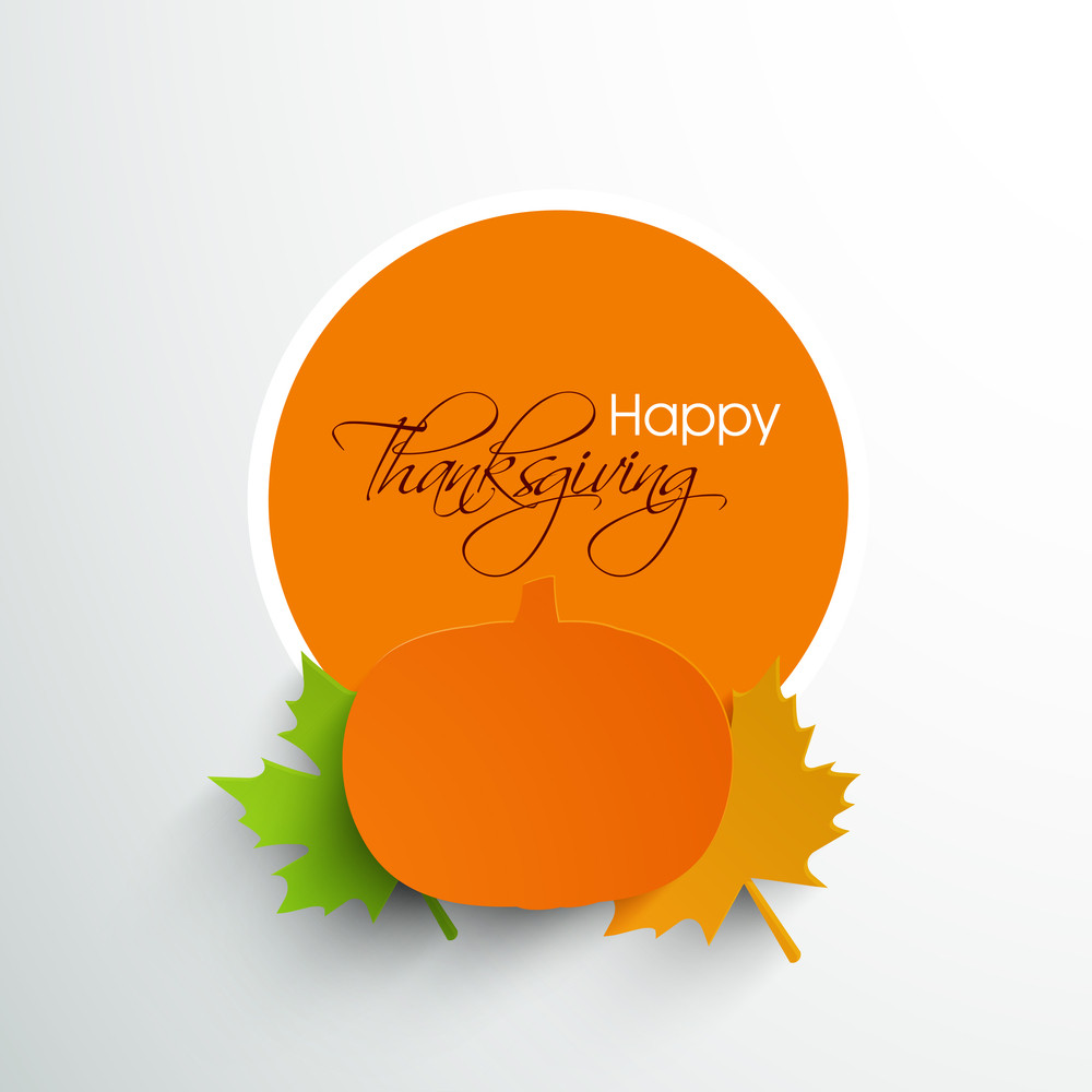 Happy Thanksgiving Day Concept With Beautiful Sticker