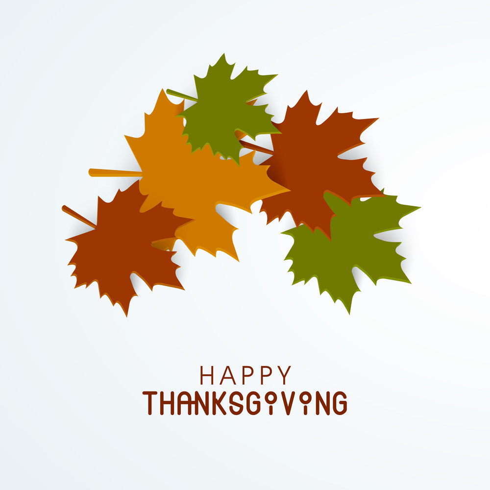 Happy Thanksgiving Day Concept With Colorful Autumn Leaves On Blue Background.