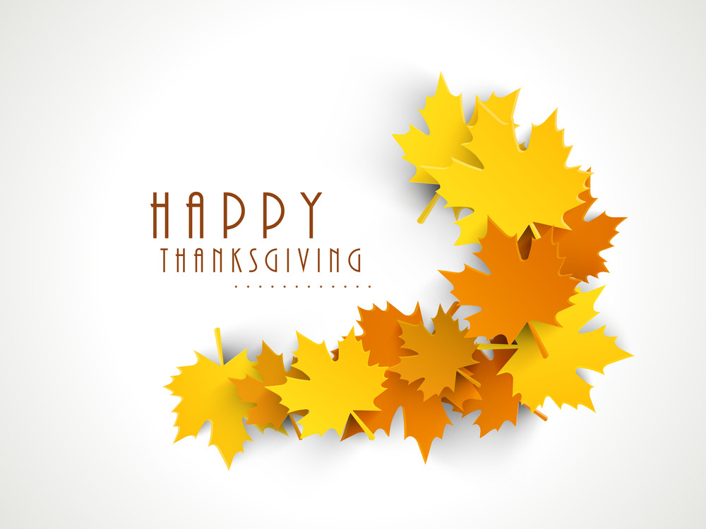Happy Thanksgiving Day Concept With Colorful Autumn Leaves On Grey Background.