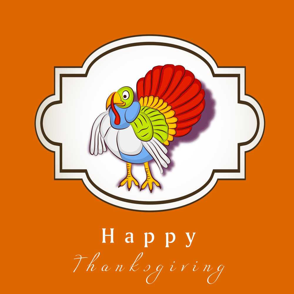 Happy Thanksgiving Day Concept With Colorful Turkey On Orange Background.