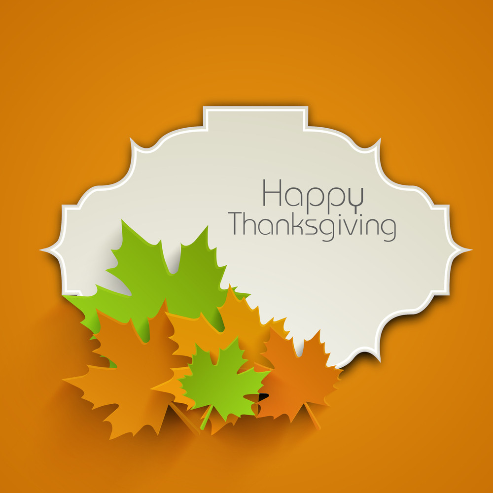 Happy Thanksgiving Day Concept With Colourful Autumn Leaves On Orange Background.