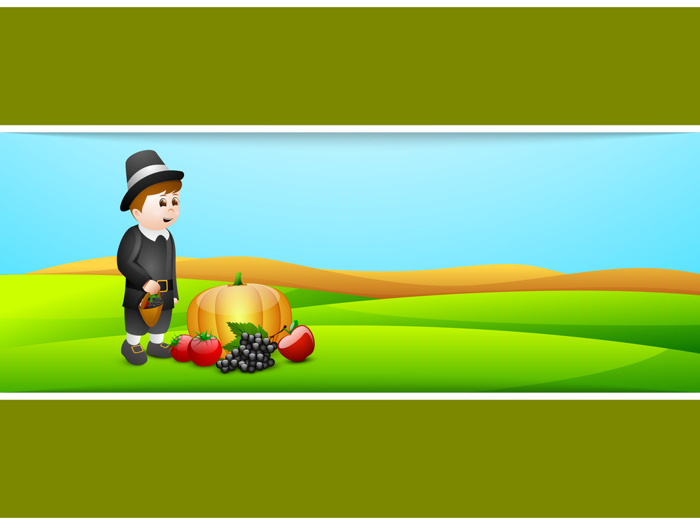 Happy Thanksgiving Day Concept With Cute Boy Holding Basket To Keep Fruits And Vegetables On Nature Background.