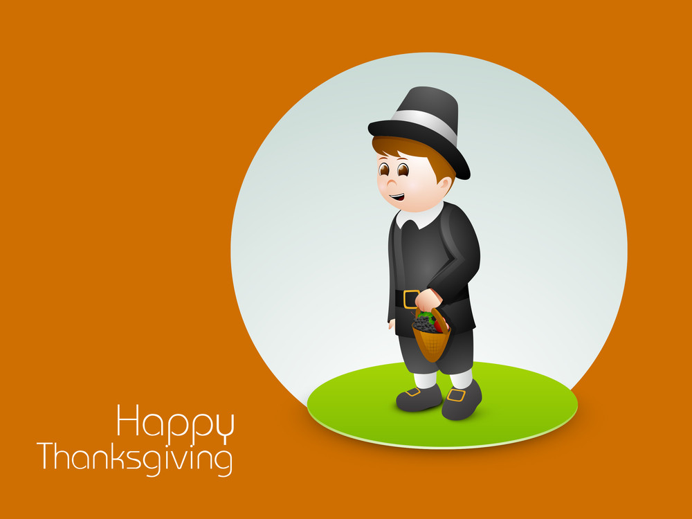 Happy Thanksgiving Day Concept With Cute Boy Holding Basket With Full Of Fruits And Vegetables On Orange Background.