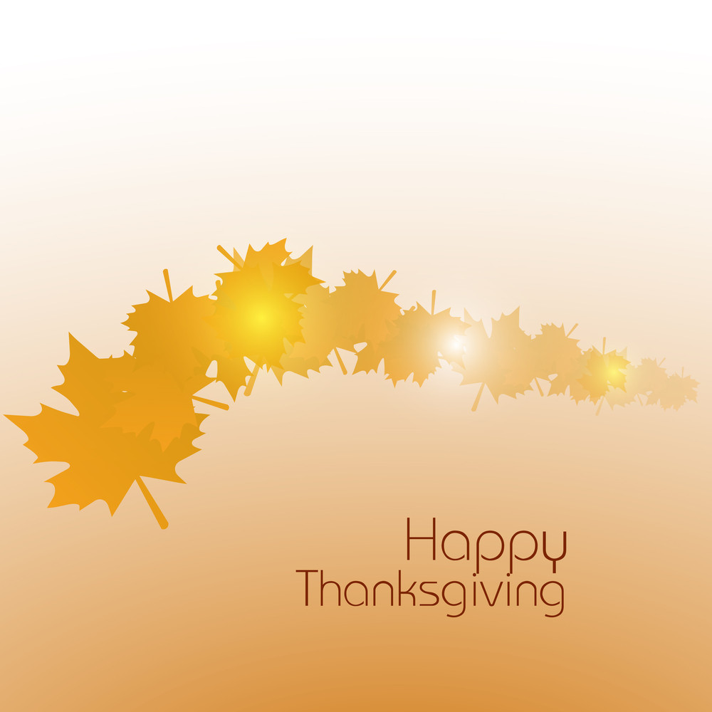 Happy Thanksgiving Day Concept With Golden Autumn Leaves On Abstract Background.