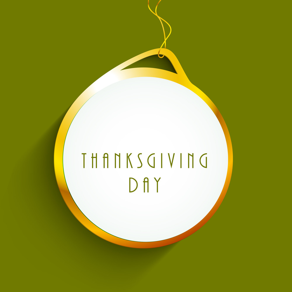 Happy Thanksgiving Day Concept With Hanging Sticker