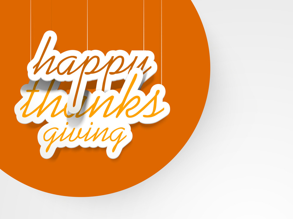 Happy Thanksgiving Day Concept With Hanging Text On Orange And Grey Background.